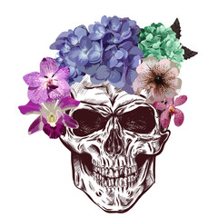 Skull And Flowers. Sketch With gradation Effect. Vector