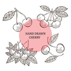 hand drawn cherry fruits