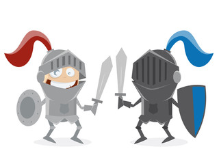 cartoon knights fighting against each other