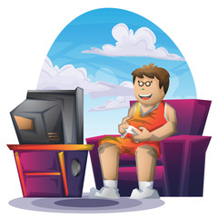 Cartoon vector fat boy playing game with separated layers for game and animation, game design asset