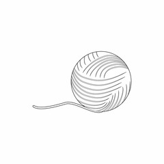 Ball of yarn icon in outline style isolated on white background. Knitting symbol