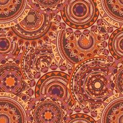 round mandala seamless vector pattern coffee colored