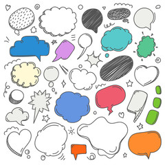Different sketch style speech clouds collection. Vector doodles