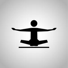 Yoga pose icon on the background