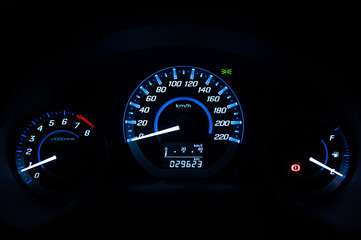 Dashboard ,Car speedometer and counter with dark mode