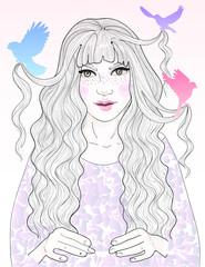 beautiful princess , her hair combed birds
