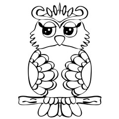 High quality original illustration of Owl on a tree branch for c