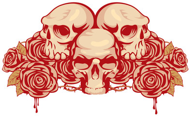 emblem with three human skulls and rose