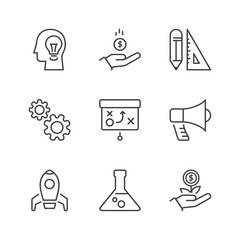 basic business process thin line icons