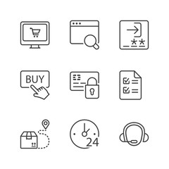 basic shopping online thin line icons