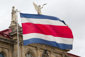 View of the Costa Rican flag in the background of the National Theater (focus on flag)