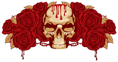 emblem with human skull and rose and a drop of blood