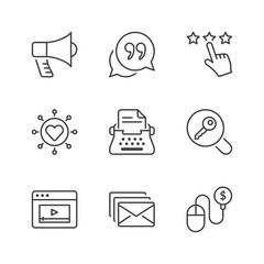 basic marketing thin line icons