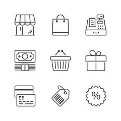 basic store thin line icons