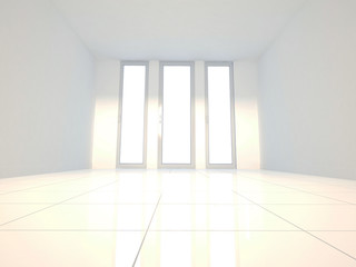 three windows in the room, 3d
