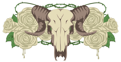 emblem with skull sheep and flowers roses
