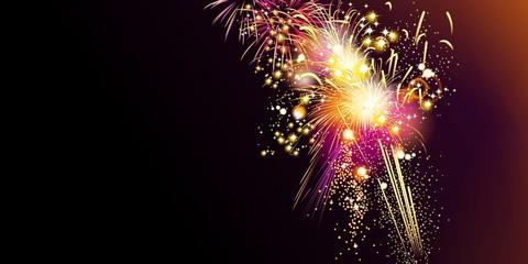 Colorful fireworks on black background, horizontal format, illustration