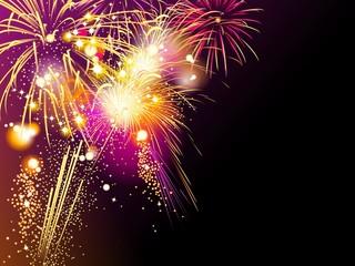Colorful fireworks background, illustration