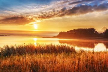 Sunrise landscape at Northern sea, Sweden.