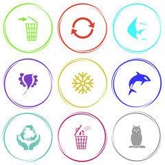 recycling bin, recycle symbol, fish, bird, snowflake, killer wha