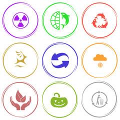 radiation symbol, globe and shamoo, killer whale as recycling sy