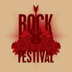 banner with an electric guitar among flowers roses and the words Rock festival