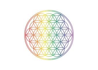 Blume des Lebens - Pride - Regenbogen