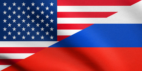 American and Russian flags together with fabric texture