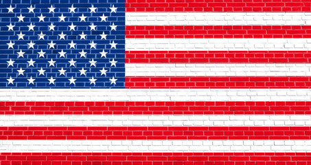 American national flag on brick wall texture background