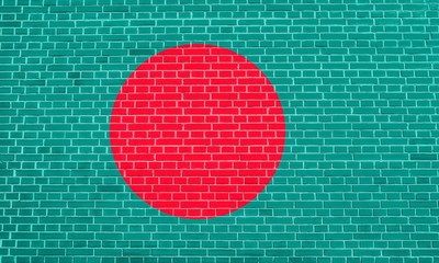 Flag of Bangladesh on brick wall texture background
