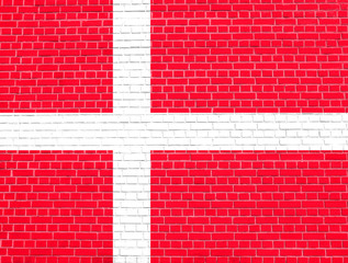 Flag of Denmark on brick wall texture background