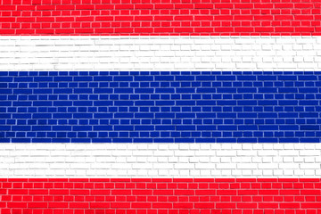 Flag of Thailand on brick wall texture background