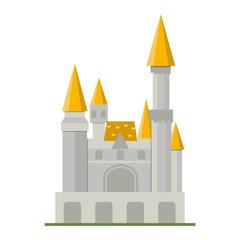 Cartoon fairy tale castle tower icon. Cute cartoon castle architecture. Vector illustration fantasy house fairytale medieval castle. Kingstone cartoon castle cartoon stronghold design fable isolated.