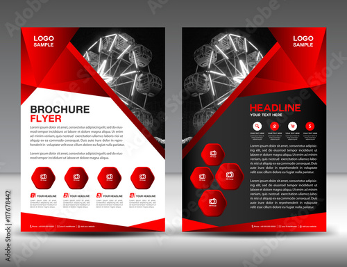 set of red brochure flyer design layout template in a4 size