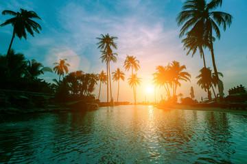 Surreal sunset on a tropical sea beach.