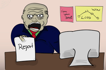 Illustrated angry boss holding report. Yelling (screaming) angry boss with paper in hand sitting behind the table with pictures on wall and computer. Cartoon style illustration.