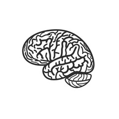 Isolated black and white brain contour vector logo. Gyrus silhouette logotype. Human intelligence illustration.