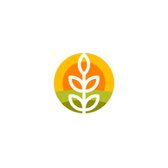 Isolated round shape abstract agricultural vector logo. Wheat ear silhouette logotype. Farm icon. Harvesting illustration. Bakery emblem.