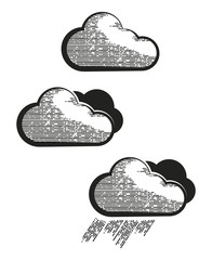 Black and white creative clouds icon