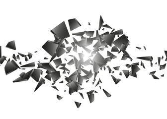 Black explosion on white background. Explosion cloud of black pieces. Abstract vector illustration