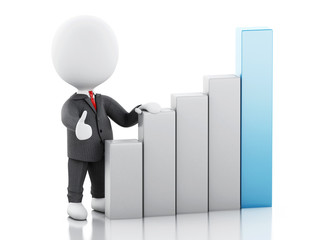 3d Businessman with statistic graph. Success concept.
