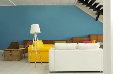 Stylish colorful furniture in interior