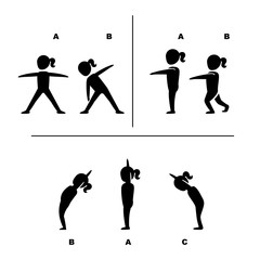 exercise poses for healthy pictograms illustration