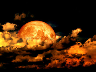 Blood moon full moon and in heap cloud, Elements of this image f