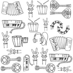 Doodle of music collection stock