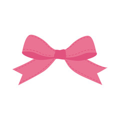 pink bowtie ribbon cute icon. Isolated and flat illustration. Vector graphic