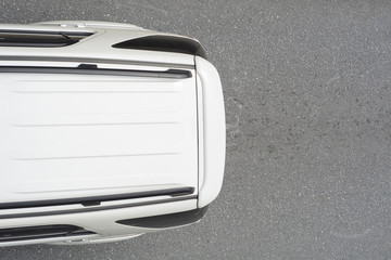 Rear of car on road from top view