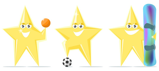 cartoon star sports , football, basketball , snowboard