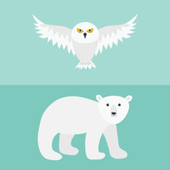 Snowy white owl. Flying bird with big wings. Polar bear. Arctic animal. Baby education. Cute cartoon character. Flat design. Blue background.