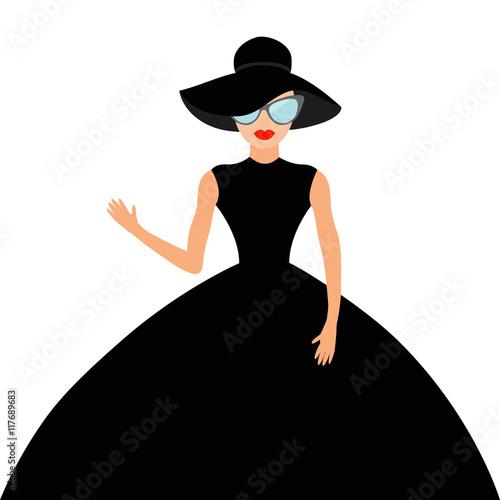 Woman In Black Elegant Hat And Big Dress Sunglasses Waving Rich
